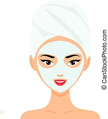 Woman with towel and cosmetic facial mask. vector illustration