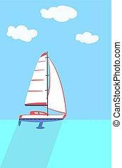 A sailboat or sailing boat.