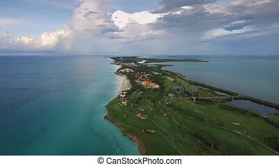 Aerial View Varadero Cuba Caribbean Sea Beaches From Sky -...
