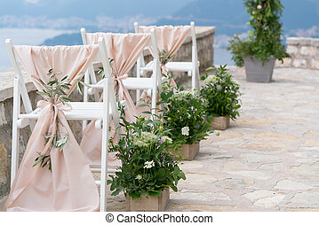 decorated chairs at the wedding venue