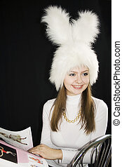 Girl a white cap of a Bonny - On a head of the girl a white...