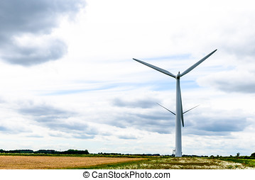 Day view wind power turbines generate electricity.
