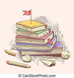 Bücherstapel gezeichnet  Bücherstapel Gezeichnet | grafffit.com