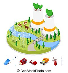 Isometric Ecology Concept. Renewable Energy. Agriculture Industry. Vector flat 3d illustration