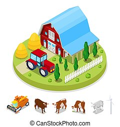 Isometric Ecology Concept. Renewable Energy Wind Mill. Agriculture Industry. Vector flat 3d illustration