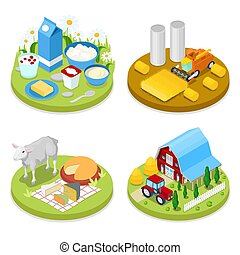 Isometric Ecology Concept. Agriculture Industry. Healthy Natural Food. Vector flat 3d illustration