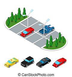 Isometric Car Parking Area. City Transportation. Vector flat 3d illustration