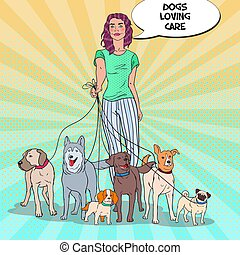 Pop Art Pretty Woman Dog Walker. Vector illustration