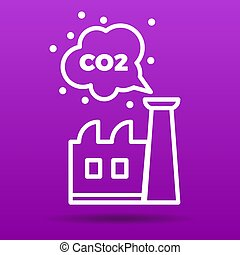 co2 emissions icon vector illustration factory and carbon...