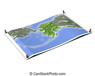 Alaska on unfolded map sheet - Alaska on unfolded map sheet...
