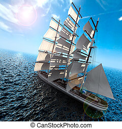 Sailing ship in the vast ocean with small waves is getting...