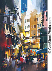 city street with digital art style - people walking in city...