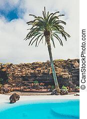 vulcânico, caverna, jameos, Lanzarote, Agua, del, Espanha,...