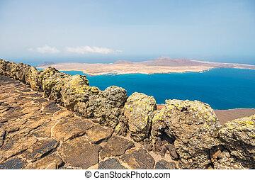 Impressive view from Mirador del Rio to island of La...
