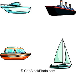 Protection boat, lifeboat, cargo steamer, sports yacht.Ships and water transport set collection icons in cartoon style vector symbol stock illustration web.