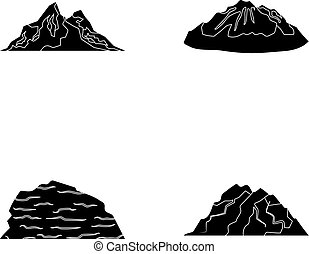 Mountains in the desert, a snowy peak, an island with a...