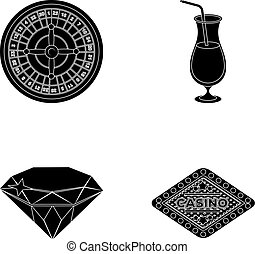 Roulette, a glass with a drink, a diamond, a sign with the inscription Casino. Casino and gambling set collection icons in black style vector symbol stock illustration web.