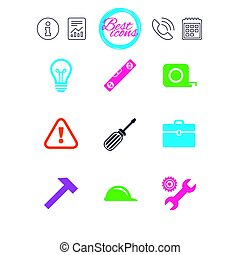 Repair, construction icons. Engineering signs. -...