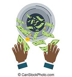 black hand with money - Waste of money concept. Dollar bills...