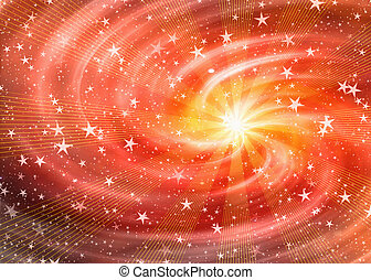 white flash in dreamy space stars background