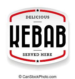 Kebab vintage sign sticker vector