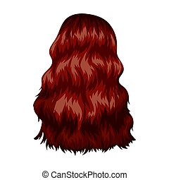 Red long back.Back hairstyle single icon in cartoon style...