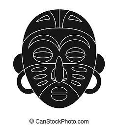 African tribal mask.African safari single icon in black style vector symbol stock illustration web.