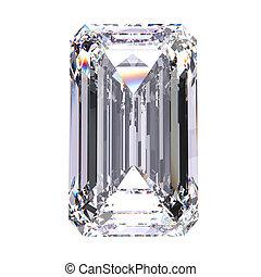 3D illustration emerald diamond stone