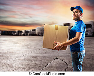 Courier ready to deliver packages with truck