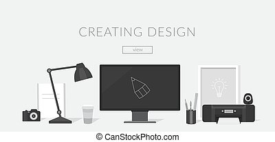 Workplace of the designer and Illustrator. - Banner...