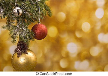 Happy Holidays - Christmas background with gold and red