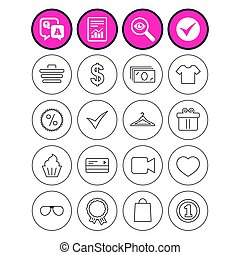 Shopping icons. Shirt, gift box and currency. - Question and...