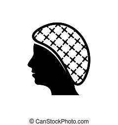 Vector hairnets must be worn icon - Single black vector...