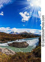 Cold water is Paine river - Cold water is emerald Paine...