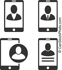 Mobile User Profile Vector Flat Icon Set