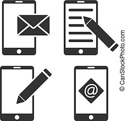 Mobile Mail Editing Vector Flat Icon Set