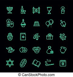Outline icon collection - Symbols Of Hanukkah
