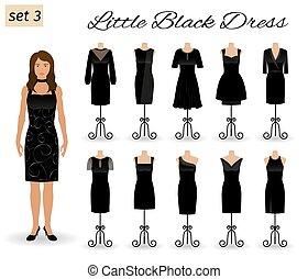 Stylish woman character in little black dress. Set of cocktail dresses on a mannequins.