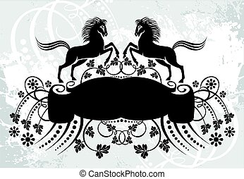 Decorative frame with pattern and horses - Black and white...
