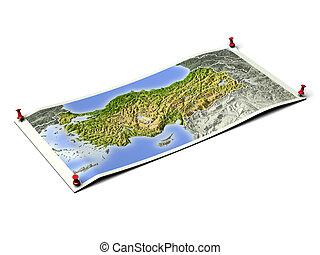 Turkey on unfolded map sheet.