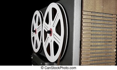 Vintage Tape Recorder Music Film Rolling