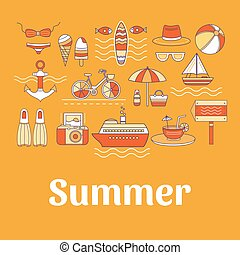 Collection of vector summer icons. - Collection of vector...