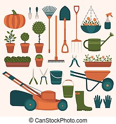 Collection of tools for gardening. Illustration of work in...