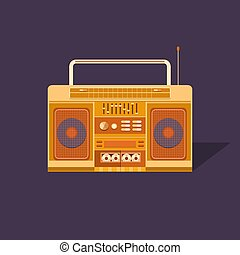 Illustration cassette tape recorder. - Illustration of a...