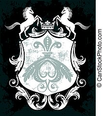 Decorative frame with crown and horses - Black and white...