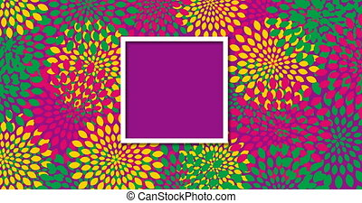 modern loop rotation flowers pattern background with frame.