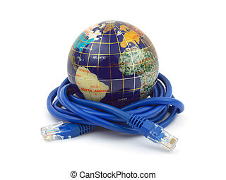 Globe and internet cable isolated on white background