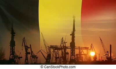 Industrial concept with Belgium flag at sunset, silhouette...