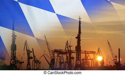 Industrial concept with Bavaria flag at sunset - Industrial...