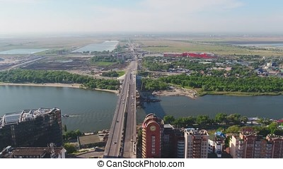 Aerial view of Moscow with Moskva River from a modern...